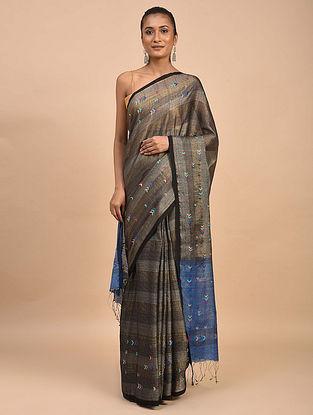 Silver-Blue Handwoven Jamdani Silk Khadi Saree