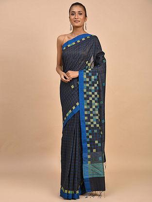 Black Handwoven Jamdani Silk Khadi Saree