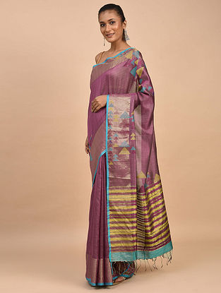 Purple-Blue Handwoven Jamdani Silk Saree