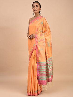 Orange-Pink Handwoven Jamdani Silk Saree