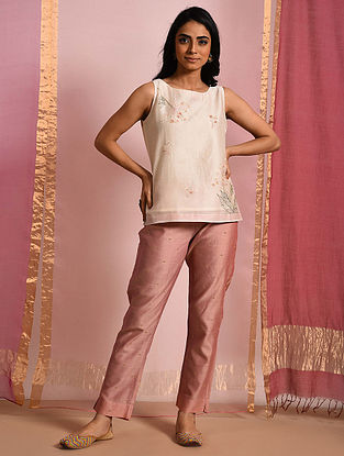 Fiza- Ivory Hand Embroidered Chanderi Top with Chanderi Jacquard Tie Up Pants (Set of 2)