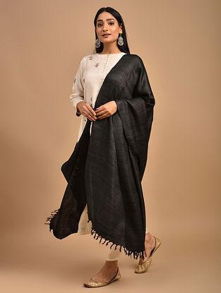 Black Handwoven Banana Ghicha Silk Dupatta