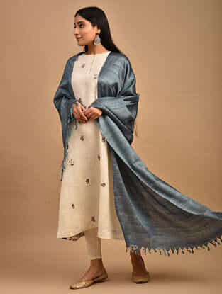 Blue Handwoven Banana Ghicha Silk Dupatta