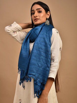 Blue Handwoven Banana Ghicha Silk Stole