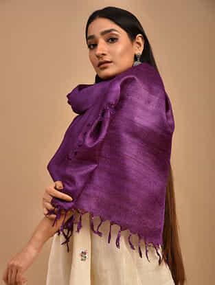 Purple Handwoven Banana Ghicha Silk Stole
