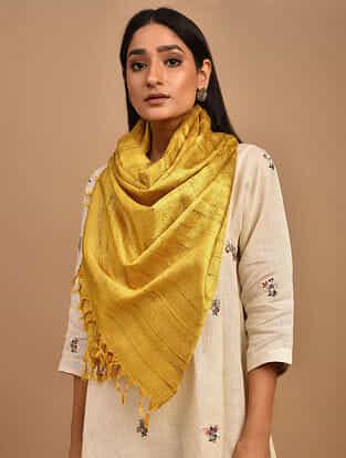 Yellow Handwoven Banana Ghicha Silk Stole