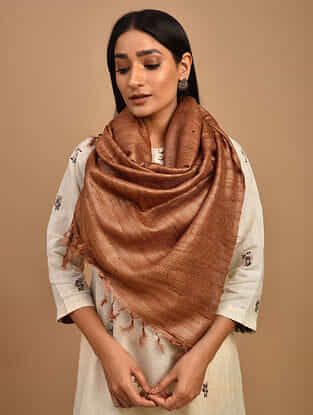 Brown Handwoven Tussar Ghicha Silk Stole