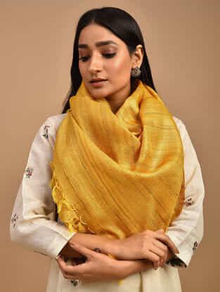 Yellow Handwoven Tussar Ghicha Silk Stole