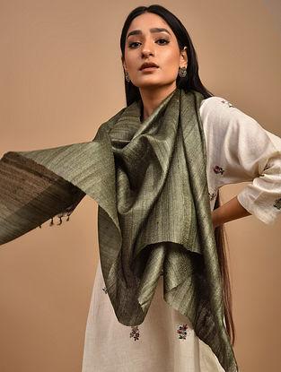 Green Handwoven Tussar Ghicha Silk Stole