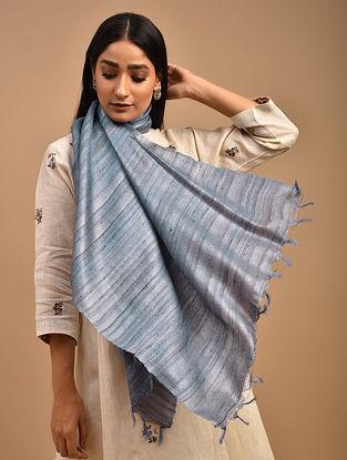 Blue Handwoven Tussar Ghicha Silk Stole