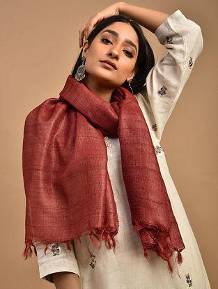 Red Handwoven Tussar Ghicha Silk Stole