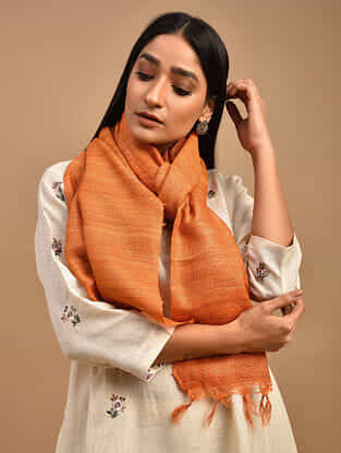 Orange Handwoven Tussar Ghicha Silk Stole