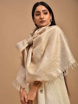 Beige Handwoven Tussar Silk Stole