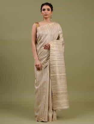 Beige Handwoven Tussar Ghicha Silk Saree
