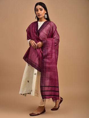 Pink Handwoven Tussar Ghicha Silk Dupatta