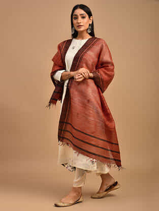 Orange Handwoven Tussar Ghicha Silk Dupatta