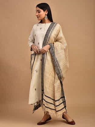Beige Handwoven Tussar Ghicha Silk Dupatta