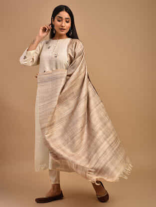 Beige Handwoven Tussar Ghicha Matka Silk Dupatta