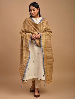 Beige Handwoven Noil Katiya Silk Dupatta