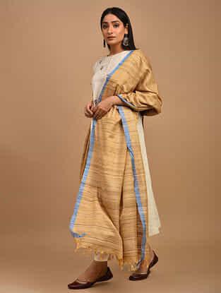 Beige Handwoven Noil Ghicha Silk Dupatta