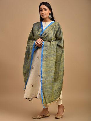 Blue-Yellow Handwoven Noil Ghicha Silk Dupatta