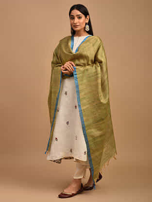 Green Handwoven Noil Ghicha Silk Dupatta
