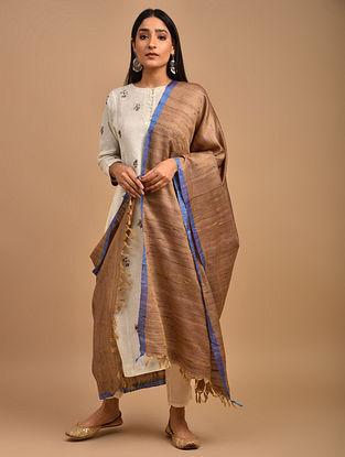 Brown Handwoven Noil Ghicha Silk Dupatta