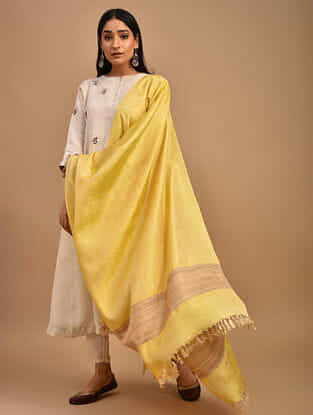 Yellow Handwoven Banana Ghicha Silk Dupatta