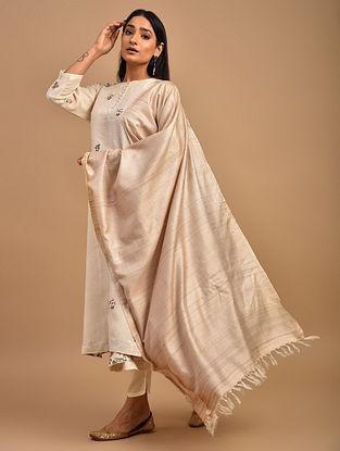 Beige Handwoven Tussar Silk Dupatta