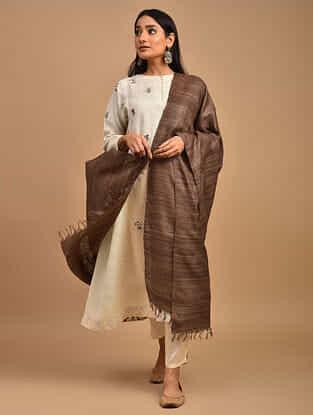 Brown Handwoven Tussar Ghicha Silk Dupatta