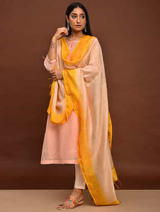 Beige Orange Ombre Cotton Chanderi Dupatta with Mukaish