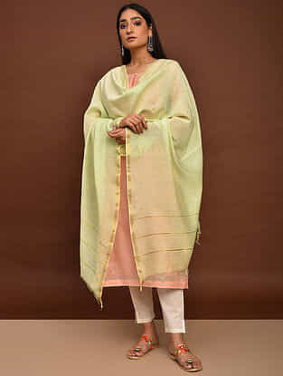 Green Mukaish Cotton Chanderi Dupatta