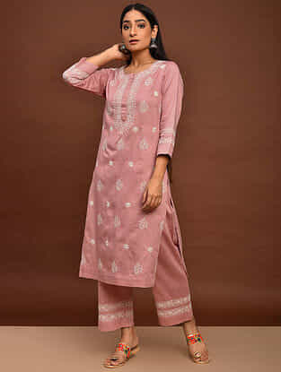 Peach Chikankari Cotton Satin Kurta with Elasticated Pants (Set of 2)