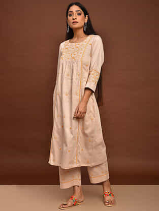 Beige Chikankari Cotton Satin Kurta with Elasticated Pants (Set of 2)