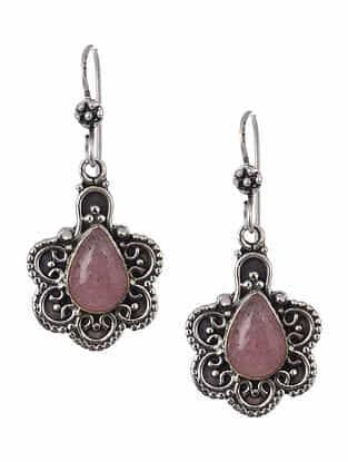 Rose Quartz Tribal Silver Earrings