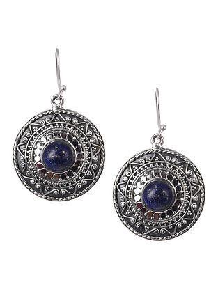 Lapis Lazuli Tribal Silver Earrings