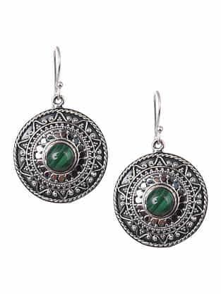 Malachite Tribal Silver Earrings