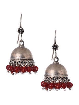 Red Onyx Tribal Silver Earrings