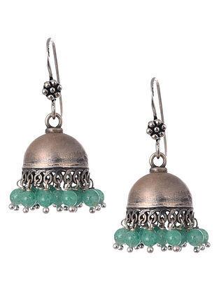 Green Onyx Tribal Silver Earrings
