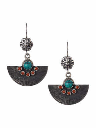 Turquoise and Coral Tribal Silver Earrings