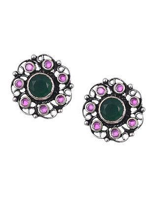 Red Green Onyx Tribal Silver Earrings
