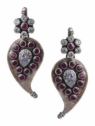 Red Tribal Silver Earrings