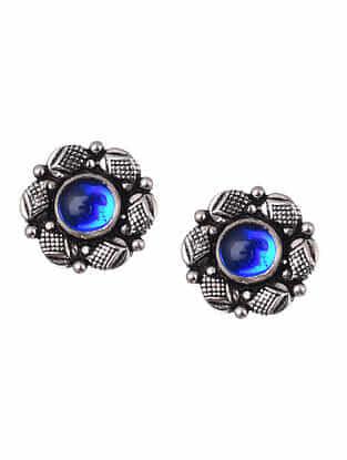Blue Kundan Tribal Silver Earrings