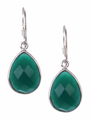 Green Onyx Tribal Silver Narrings
