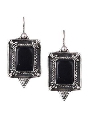 Black Onyx Tribal Silver Earrings