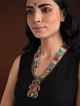 Multicolored Silver Tone Handcrafted Necklace With Turquoise Coral And Amber