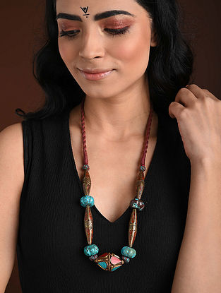 Coral Turquoise Gold Tone Handcrafted Necklace