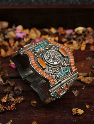 Coral Turquoise Handcrafted Cuff With Amber