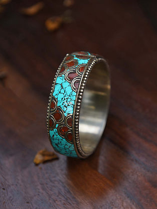 Coral Turquoise Silver Tone Handcrafted Bangle (Size:2/7)