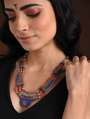 Orange Blue Silver Tone Handcrafted Necklace With Lapis And Coral